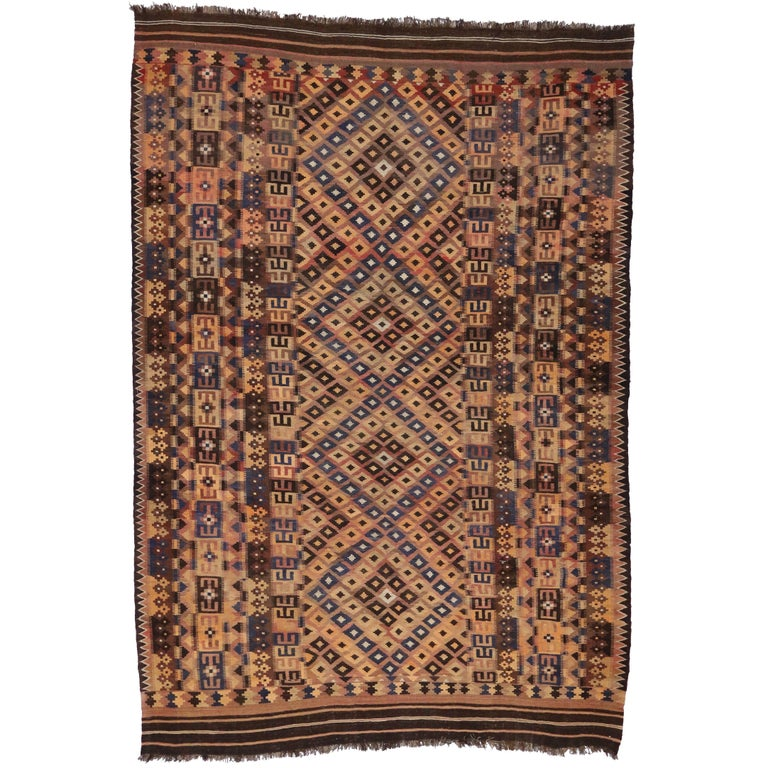 Vintage Afghan Kilim Rug With Modern Tribal Style For Sale