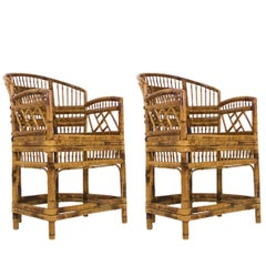 Pair of Rattan Chinoiserie Armchairs