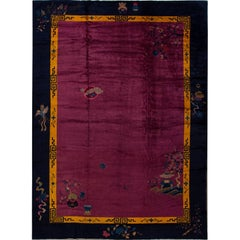 Antique Purple Chinese Deco Wool Rug 11 Ft 3 In X 15 Ft 4 In.