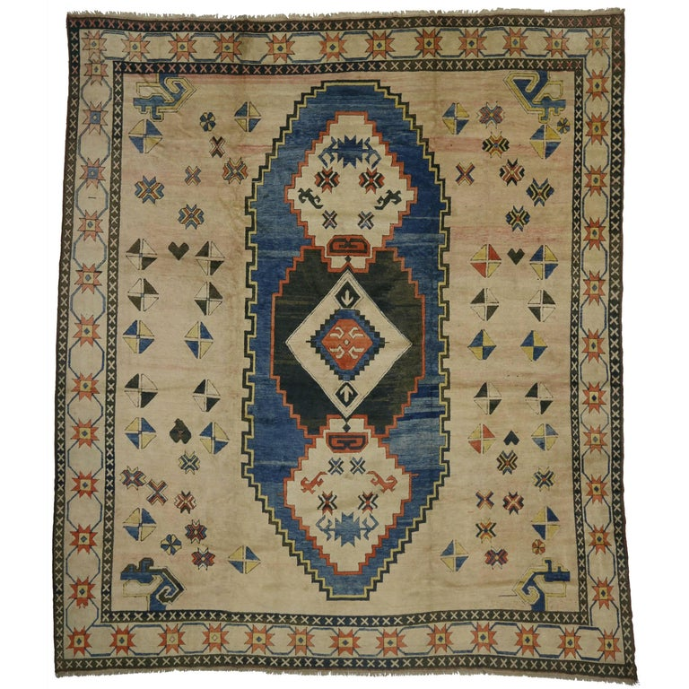Modern Oushak Rug: Antique Turkish Oushak Rug With Modern Style For Sale At