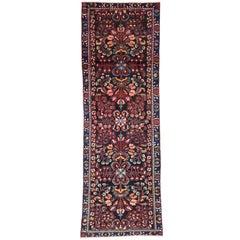 Antique Persian Bakhtiari Runner with Rich Jewel-Tones, Hallway Runner