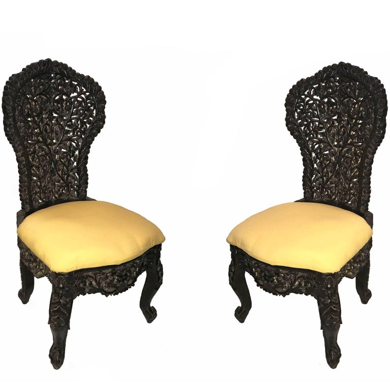 Early 20th Century Hand-Carved Rosewood Chairs from India For Sale