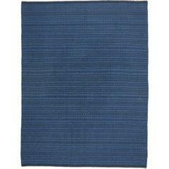 Scandinavian Modern Swedish Kilim Rollakan, Blue Flat-Weave Kilim Rug