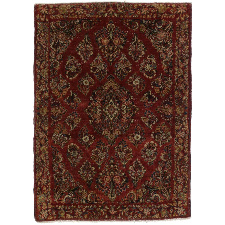 Antique Sarouk Persian Rug with Old World Victorian Style For Sale