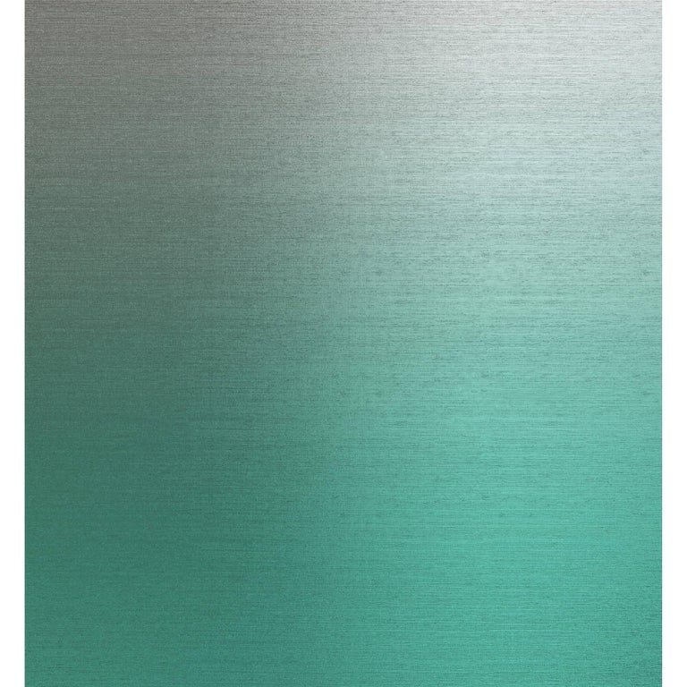 Brasscloth Jade Wallpaper in Green and Textured Silver Metallic, Per Sq. Ft. For Sale