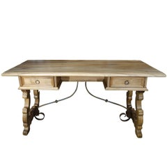 19th Century Italian Rustic Tuscan Farmhouse Refectory Desk Table Circa 1890