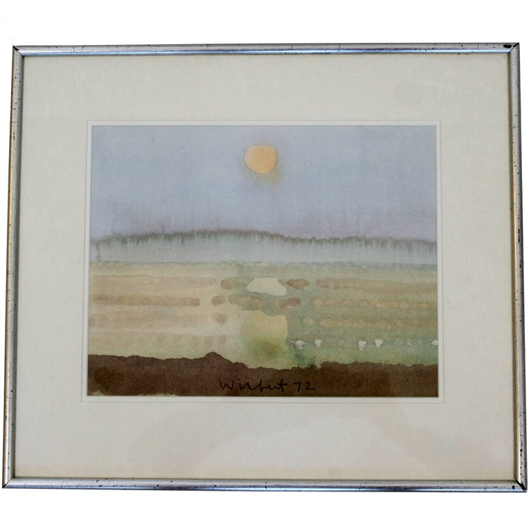 Mid-Century Modern Framed Watercolor by Robert Wilbert Signed Dated 1972 Sunrise