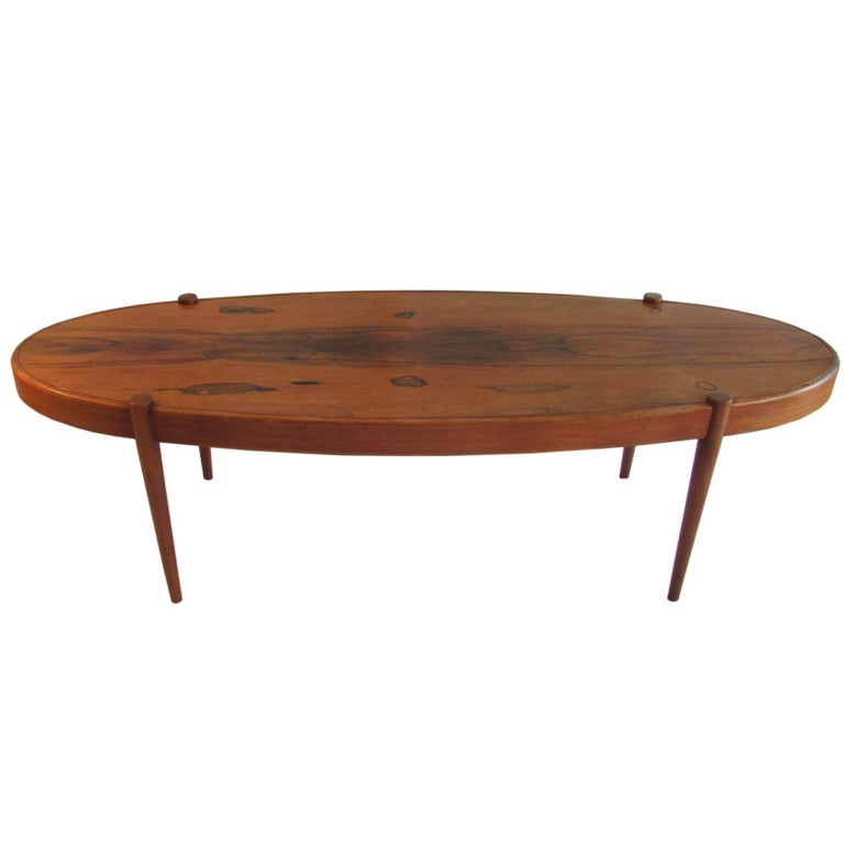 Midcentury Rosewood Elliptic Coffee Table 1
