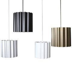 Wave Metal Pendant  Black, Brass, Silver, White. Industrial  Modern Design