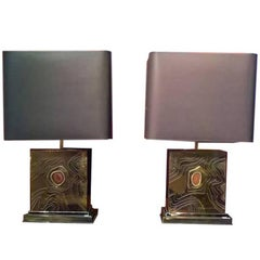 George Mathias Pair of Squared Brass and Agate Table Lamps