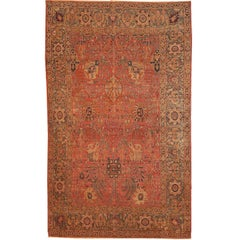 Handmade Antique Indian Loristan Oriental Rug, 1880s