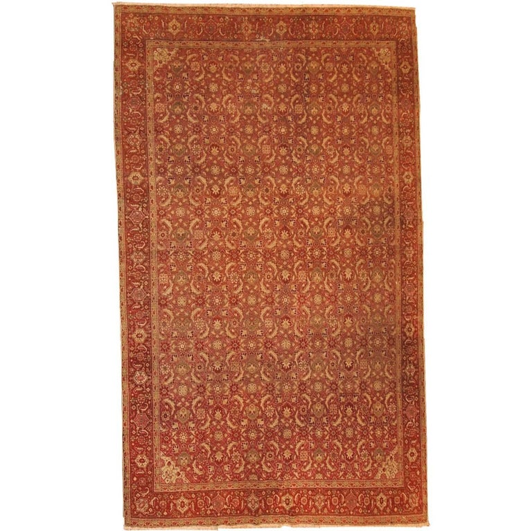 Handmade Indian Persian Rugs: Handmade Antique Indian Amritsar Oriental Rug, 1900s For