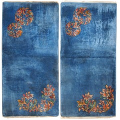 Handmade Antique Art Deco Chinese Rugs, 1920s, Set of Two, 1C128