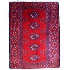 Handmade Vintage Turkmen Red Oriental Rug, 1970s