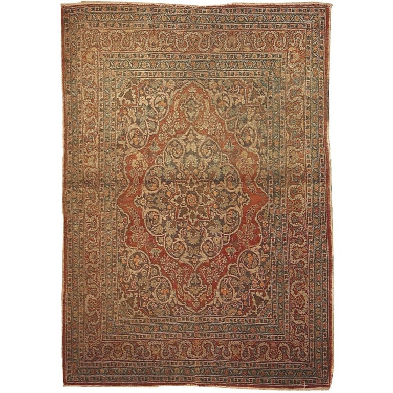 Handmade Antique Persian Tabriz Oriental Rug, 1920s For
