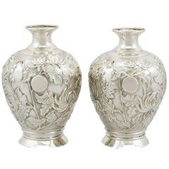 1900s Japanese Silver Bud Vases