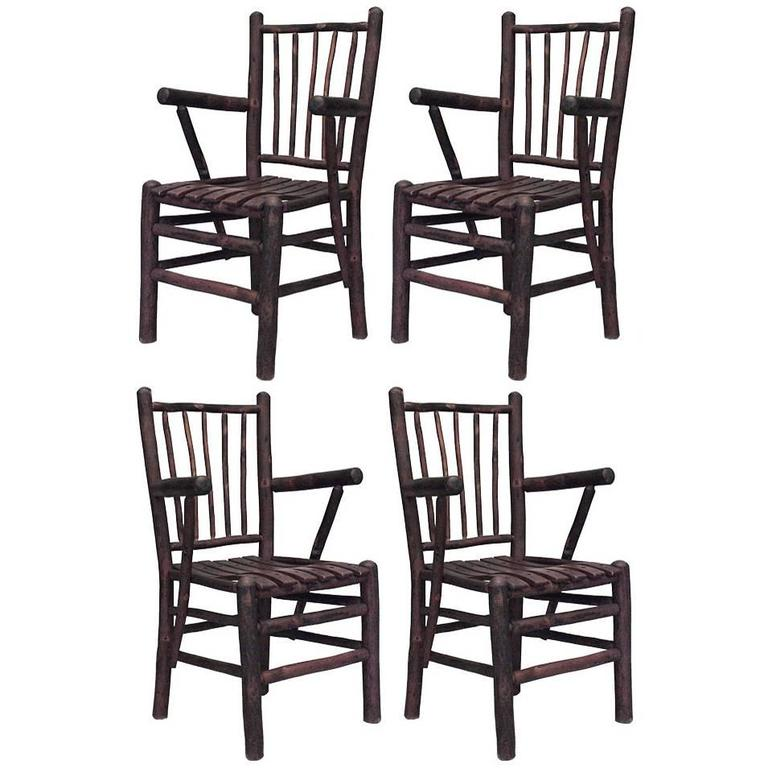 Set Of 4 Old Hickory Arm Chairs For Sale At 1stdibs