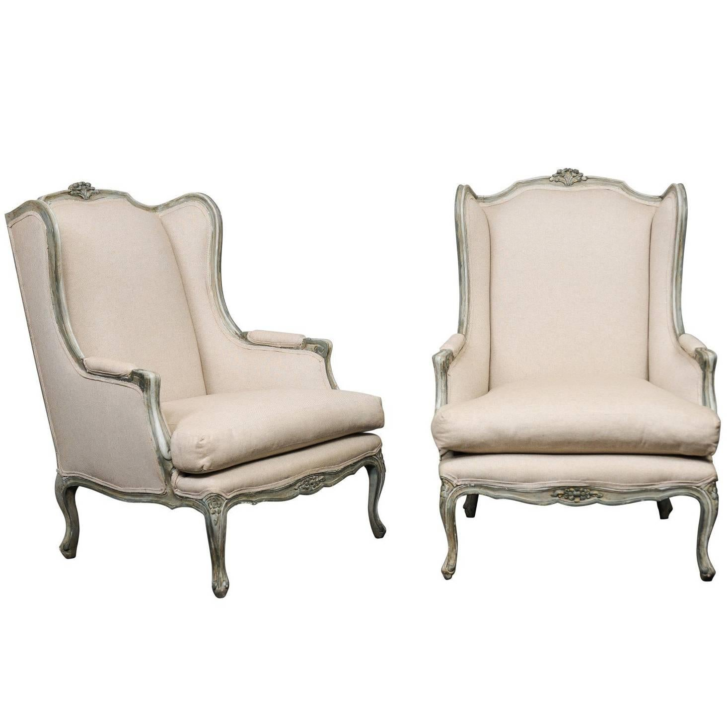 Pair Of Mid 20th Century French Carved Wood And Upholstered Wingback Chairs  1