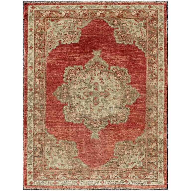 Turkish Ground Rug: Red And Cream Ornate Floral Medallion Design Oushak Rug