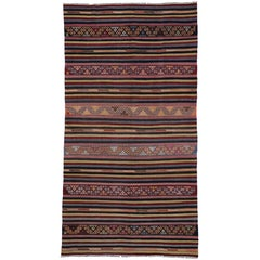 Vintage Turkish Striped Kilim Rug with Tribal Bohemian Style, Flat-weave Rug