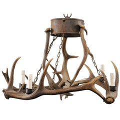 French Four-Light Deer Antler Vintage Chandelier