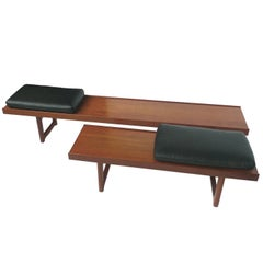 Set of Two Solid Teak Bench-Tables by Torbjørn Afdal for Bruksbo, Norway