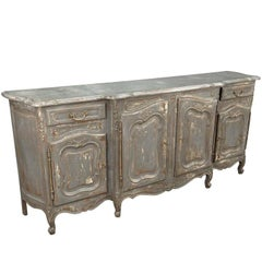 French, Early 20th Century Provencal Buffet, Enfilade in Painted Wood