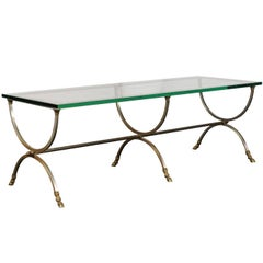 Large-Scale Steel and Brass Coffee Table with Glass Top in Style of Jansen