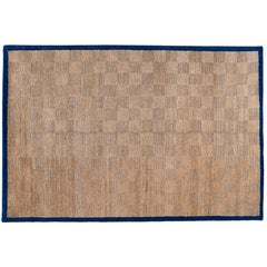 Tone on Tone Checkered Rug with Navy Border