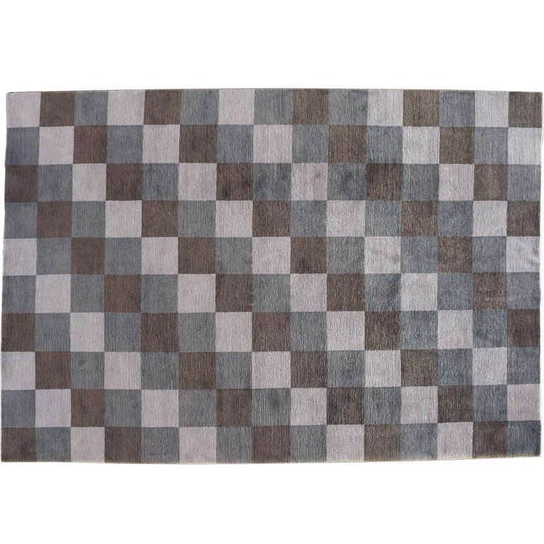 Checked Black Grey Rug: Grey Checkered Rug For Sale At 1stdibs
