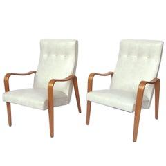 Pair of Thonet Midcentury Bentwood White Marine Vinyl Lounge Chairs