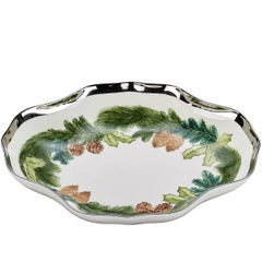 Country Style German Christmas Porcelain Dish with Hand-Painted Garland
