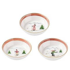 Country Style Set of Three Porcelain Dishes with Skier Decor Sofina Boutique