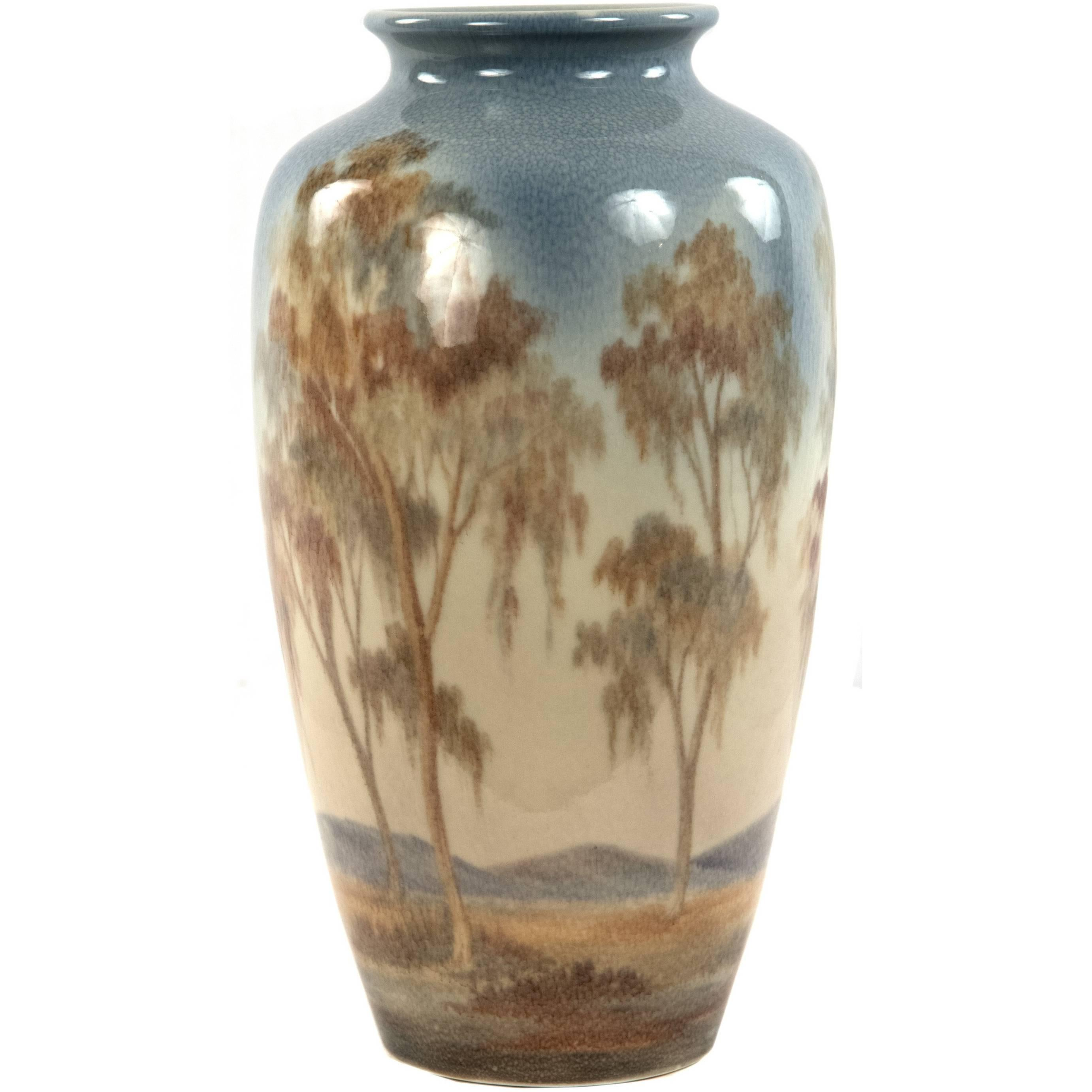 Rookwood Vellum Glazed Landscape Vase by Margaret McDonald