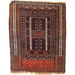 Handmade Vintage Turkmen Hachli Oriental Rug, 1950s