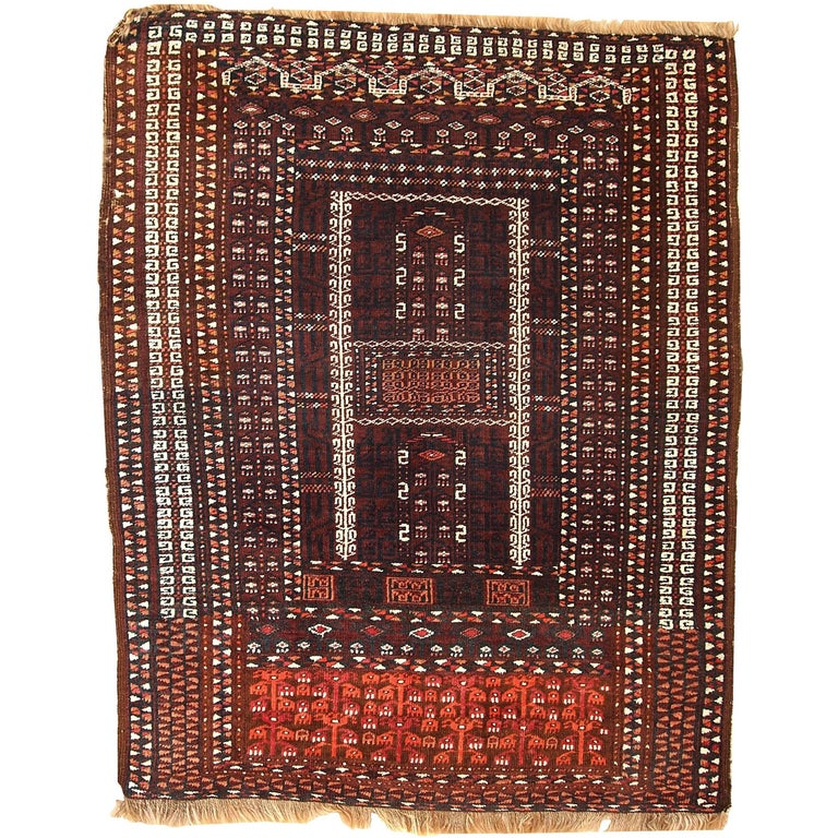 Pasargad Ny Persian Hand Knotted Wool Light Blue Ivory: Handmade Vintage Turkmen Hachli Oriental Rug, 1950s At 1stdibs
