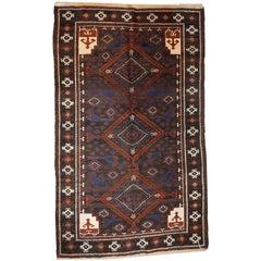 Handmade Vintage Afghan Baluch Oriental Rug, 1930s