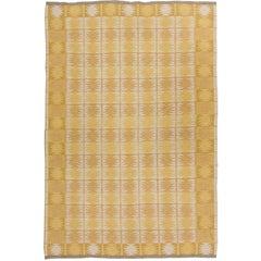 Midcentury Swedish Yellow Reversible Flat-Weave Rug by Ingrid Dessau