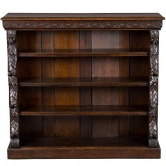 English Victorian Period Carved Oak Short Bookcase