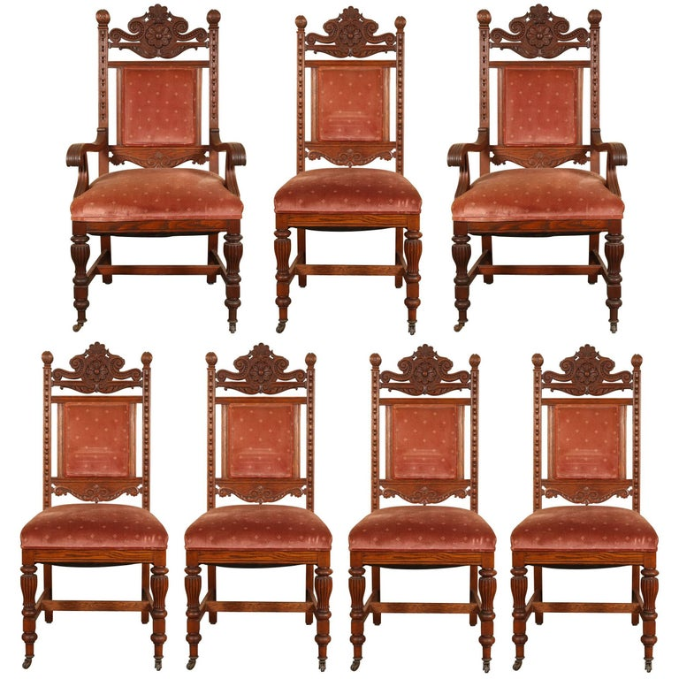 Dining Room Furniture Sale: Set Of Seven Antique Carved Oak Dining Room Chairs For