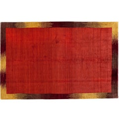 Red Rug with Gold Border