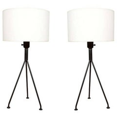 Pair of Gerald Thurston for Lightolier Tripod Table Lamps