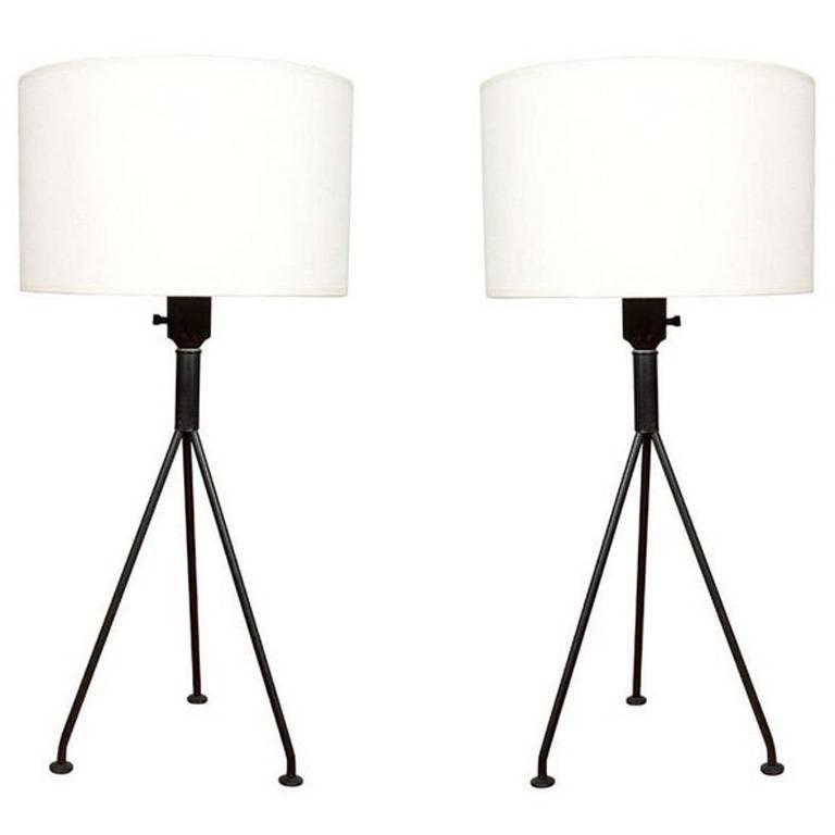 Pair of Gerald Thurston for Lightolier Tripod Table Lamps