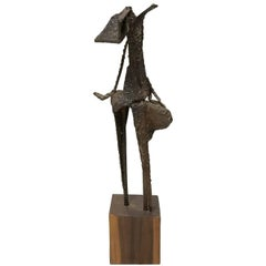 1970s Double Post Brutalist Metal Abstract Sculpture on Square Wood Base