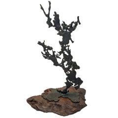 1970s Mixed Metal Spill Cast Sculpture