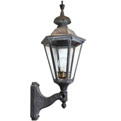 Large Aluminum Exterior Sconce with Six Paneled Glass