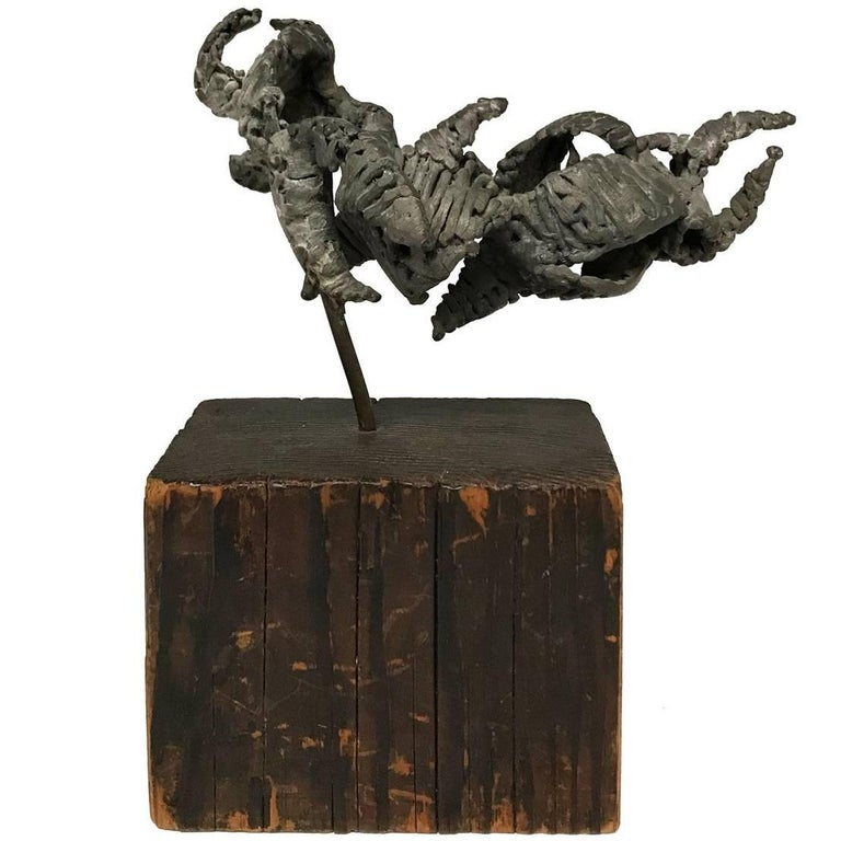 Small 1970s Brutalist Iron Sculpture on Grooved Rectangular Wood Base For Sale