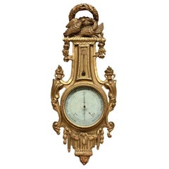 18th Century Giltwood Hand-Carved Barometer, Thermometer