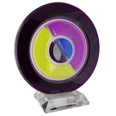 Shlomi Haziza Lucite Sculpture Acrylic Art Abstract Purple Modern