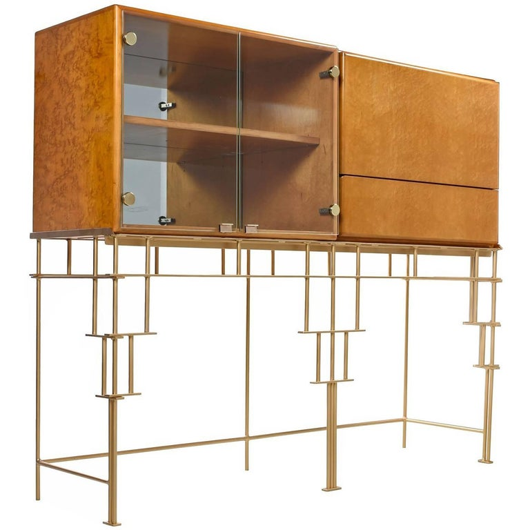 Milo Baughman for Thayer Coggin Maple Bar Cabinets with Custom-Made Metal Base